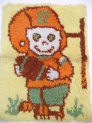 "Handcrafted Child Football Player#12 Latch Hook Rug Home Decor 17.5x23.5""Vtg MCM"