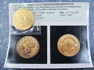 1904 $20 PCGS MS 63 Gold Liberty Double Eagle, Uncirculated Twenty Dollar Coin