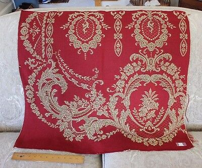 American Victorian c1880  Red & Green Woven Jacquard Tapestry Textile Fabric