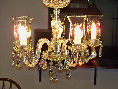 5 arm crystal chandelier