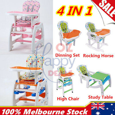 Design 4 in 1 Adjustable Baby High Chair Dinning Set Rocking Horse Study Table
