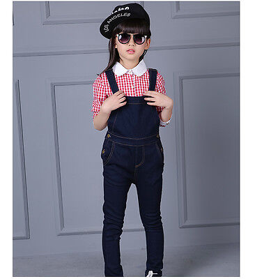 KIDS Denim overalls 2PC Long sleeves Plain Shirt+Overalls Jeans Size 3-16YRS