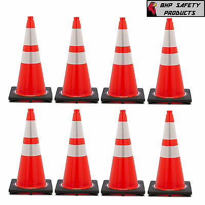 "28 Inch Orange Safety Traffic Cones W/ 4 & 6"" 3M Reflective Collar (8/package)"