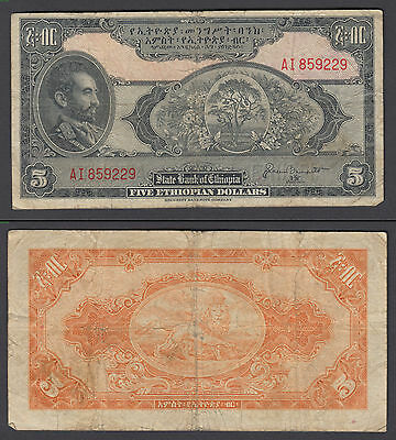 Ethiopia 5 Dollars 1945 in (F-VF) Condition Banknote P-13