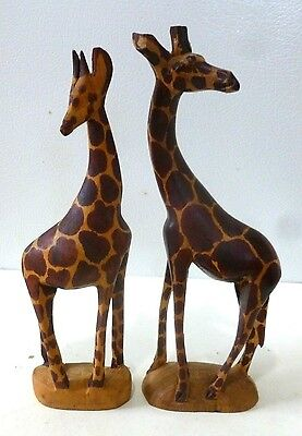 "Hand Carved Pair of Wooden Giraffe Statues 8"" High Solid Wood Figurines, Kenya?"