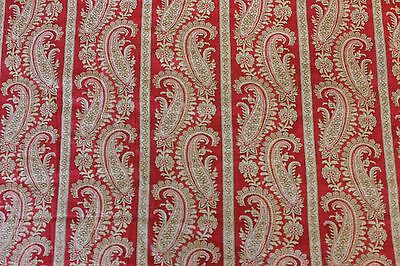 Antique Turkey Red Cotton Paisley Stripe Yardage c1880~Quilters,Xmas Projects