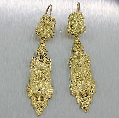 1880s French Antique Victorian 18k Yellow Gold Floral Engraved Drop Dangle Earri