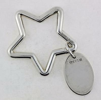 Authentic Rare Tiffany & Co Silver 925 Star with Oval Tag Key Ring Key Chain