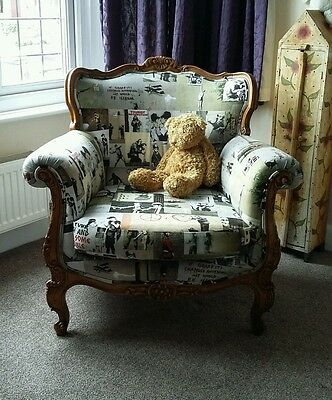 Lovely Old French Armchair Traditionally Upholstered One off Banksy Design