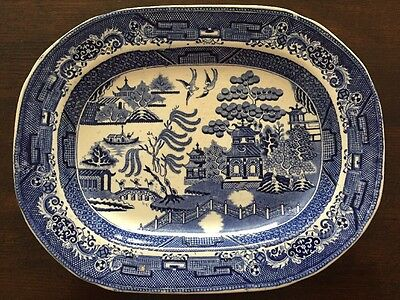 Large Antique Blue/white Willow Pattern Staffordshire Stoneware Platter EB&Co #3