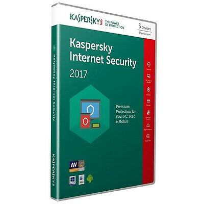 Kaspersky Internet Security 2017 5Pc/1Year / New Code / Antivirus / Sale/version
