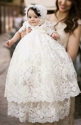 Baby Infant Christening Lace Dress White/Ivory Baptism Gown Girl/Boy WITH Bonnet