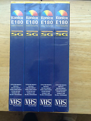 4 x Super Standard VHS Blank Video Tapes Konica E180 4 x 3 hour Brand New Sealed