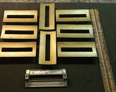 9 antique BRASS Drawer Cabinet Pulls Knobs lot Salvage vtg doors dresser nine