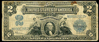 """Fr. 258 1899 $2 Two Dollars """"Mini Porthole"""" Silver Certificate"""