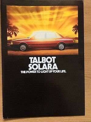 1980 TALBOT SOLARA Brochure - LS, GL, GLS, SX, with price list and colour chart