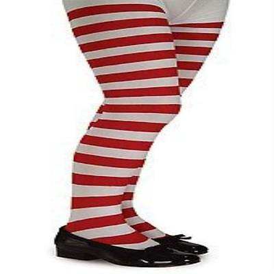 Red & White Striped Tights Child Large Accessories & Makeup Rubies New