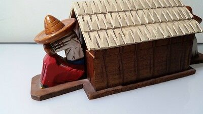 vtg hand carved /shaped like house/mexican sombreros figures house box
