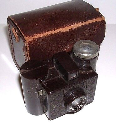 Vintage Sida Extra Small Brown Plastic Camera W. Case