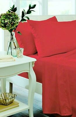 Catherine Lansfield Red Non Iron Percale Sheets And Optional Pillowcases