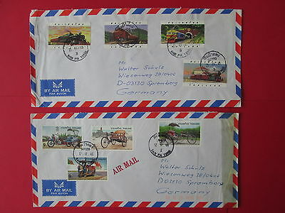 THAILAND 2 covers 1997 1998 complete set train railway tricycle transport stamps