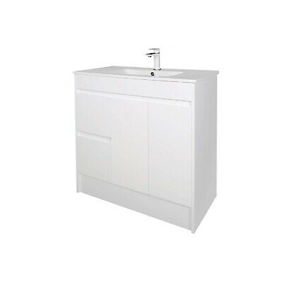 1200mm Vanity Unit with Basin Soft Closing Doors Cabinet Unit High Gloss White