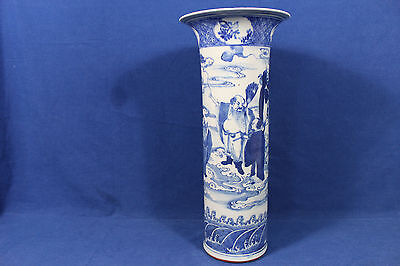 Antique Chinese blue and white cylindrical vase