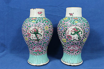 Yongzheng period - antique pair of Chinese polychrome-enameled porcelain vases