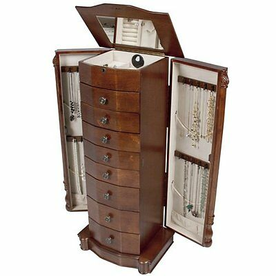 Best Choice Products Armoire Jewelry Cabinet Box Storage Chest Necklace Wood ...