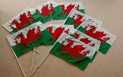 9 x Welsh Flags with Sticks - Wales - Cymru - FREE P&P