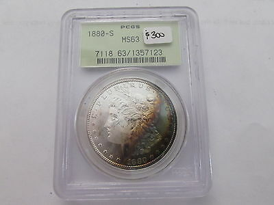 1880 S Morgan Silver Dollar PCGS MS 63 OGH Green Label 2-Sided Crescent Rainbow
