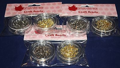 NEW Woodware Gold & Silver Craft Brad Packs (split pin) - choice of shape