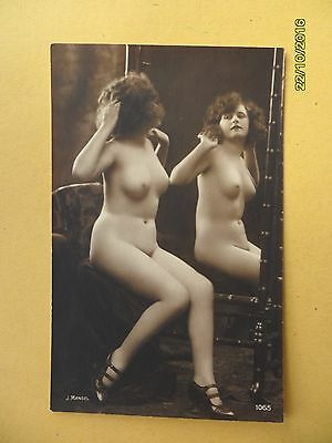 Original French 1910's-1920's Mandel Postcard Nude Erotic Sexy Lady Mirror #75