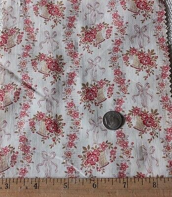 3 Pieces Of French Doll Scale 19thC Cotton Fabric~Roses~Ribbons