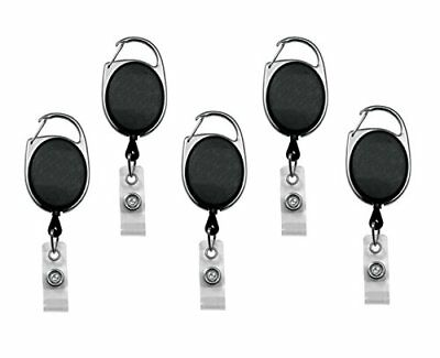 Retractable Badge Holder Carabiner Reel Clip On ID Card Holders Pack of 5 New