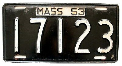 Massachusetts 1953 License Plate, 5-Digit Shorty, Antique, Garage Wall Sign