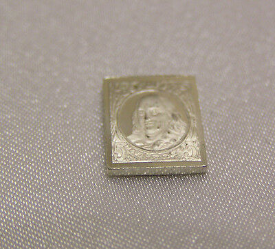 Solid Silver Stamp Usa 1847 Five-Cent Franklin United States Of America