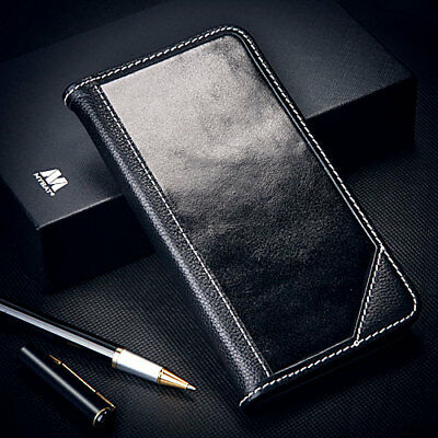 Black Real Genuine Leather Flip Wallet Case Protective Cover For iPhone 7 Plus 7
