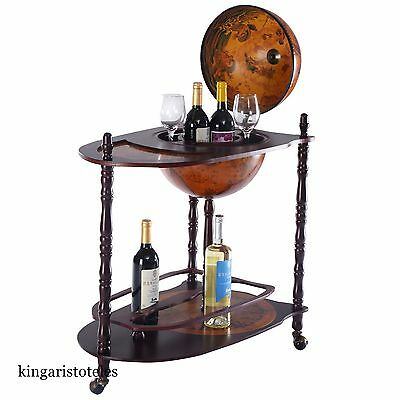 Retro Mini Bar Cabinet Vintage Globe Shaped Bottles Drinks Trolley With Table