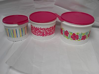 Tupperware Tropical Glamour 3 pc Canister Set NEW