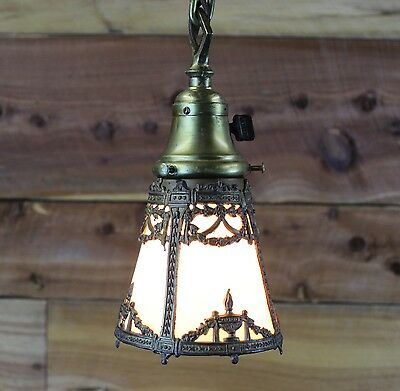 "Antique Arts & Crafts Single Light Pendant with Slag Glass Shade ~ 17"" Tall"