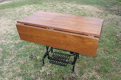 Handmade Oak Drop Leaf Table Top On Antique Sewing Machine Base