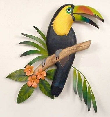 Tropical Art Designs Hand Carved Wooden Toucan with Metal Leaves Wall Sculpture