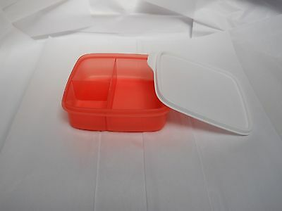 Tupperware Lunch It Container Compartments Coral Crush with Snow White Seal NEW