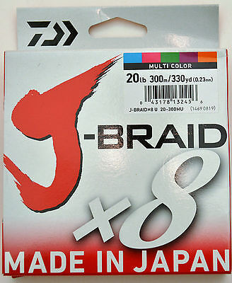 Daiwa J-Braid Multi Colour - 300 metres - 20lb Test J Braid