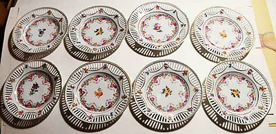 8 Germany Dresden Flowers Design Reticulated Saucers Mint Condition
