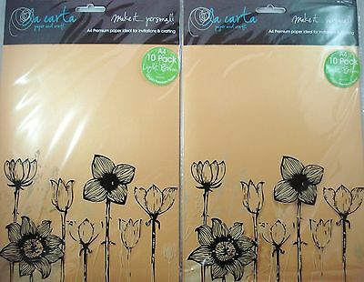 2 x 10pk A4 Premium 120gsm Card Paper Light Brown Craft DIY FREE POSTAGE