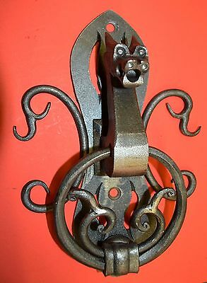Horned Dragon Door Knocker,Hand Forged Wrought Iron by Blacksmith