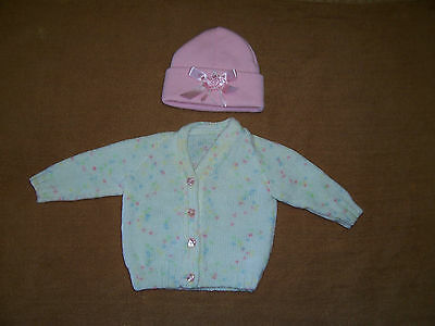 New Hand Knitted Baby Cardigan Multi Fleck    0- 3 Months Approx