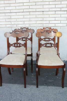 Antique Set of Four American Empire Walnut Dining Chairs, New Upholstery